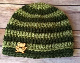 Crochet Baby Boy Frog Beanie