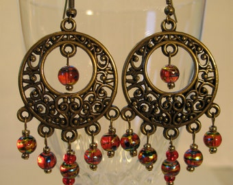 Antique brass chandelier earrings with red beads