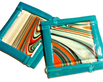 Fused Glass Coasters - Pair Southwestern Fusers Reserve Plates