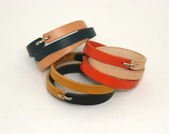 Two Tone Skinny Leather Bracelet:  Genuine, Vegetable Tanned, Hand Made