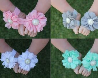 Baby Girl Barefoot Sandals Foot Flower Shoes & Headband Handmade Free Postage