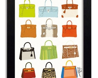 Hermes Birkin & Kelly - Fashion Illustration Print Fashion Print Fashion Art Fashion Wall Art Fashion Poster Fashion Sketch Art Print