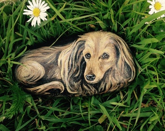 Painted pebble of Dachshund