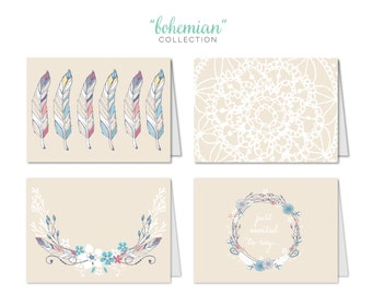 Bohemian Collection | Boho Chic | Greeting Cards | Set of 12 Cards
