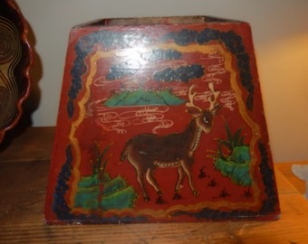 PAINTED PLANTER or BOX With Deer and Horses
