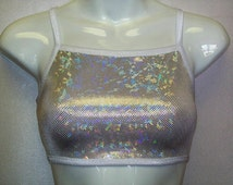 Sports Bra Top 16 Colors Shattered Glass Hologram Crop Dance Cheer Gym Volley Roller Derby Sparkle Stretch Spandex Shiny