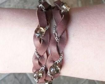 Chain Braided wrap bracelet with smokey quartz
