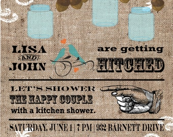 Mason Jar and Burlap Wedding Shower Invitation
