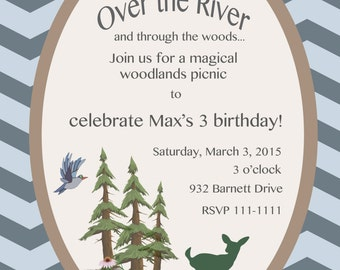 Woodland Themed Birthday Invitation and Party Pack