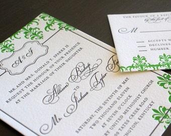 Sample Royal Damask Wedding Invitation