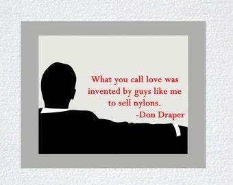 Mad Men Don Draper Quote Printed Art Print, poster