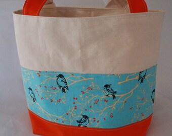 SAMPLE SALE - Canvas Tote Bag Orange and Blue Birdie Reversible