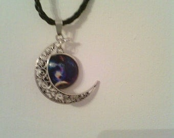 Earth and moon leather necklace