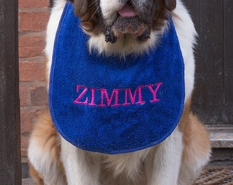 Slobber, Drool .Bibs Personalised With Your Pets Name Great For Newfoundlands.St Bernard's,Bull Mastiffs AllLarge Slobbering Dogs