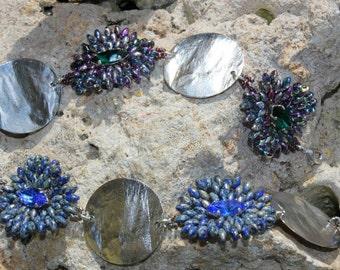 """""""Flowers"""" bracelet green purple"""