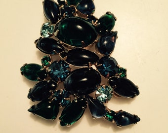 Stunning Brooch in Deep Blues and Greens