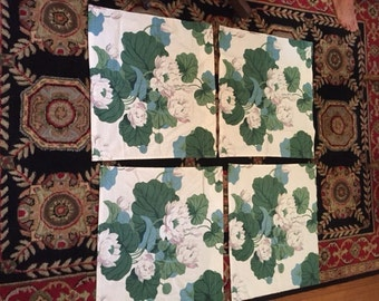 Fabulous 1940's barkcloth material/fabric of lily pads, lilies, pond design