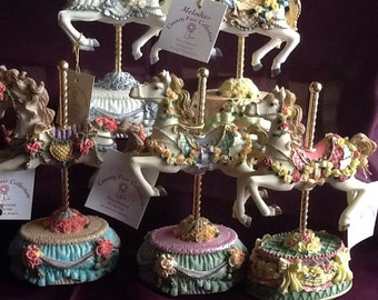 Collection of 5 Heritage house carosel musical horses