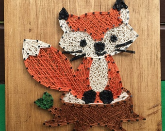 Little Fox String Art, Woodland Animal Decor, MADE TO ORDER