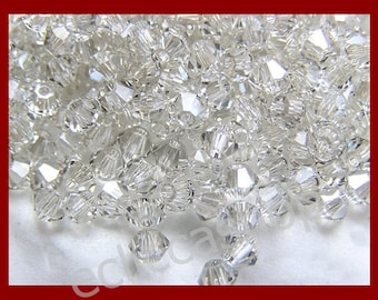 Bicone faceted half-crystal beads 4 mm transparent 60 PZ
