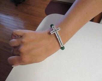 Jade Sideways Cross Bracelet