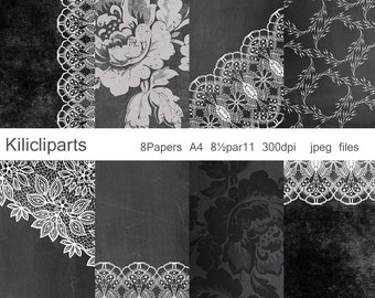 DIGITAL PAPERS, Lace Digital, chalkboard background, Chalkboard Papers, Wedding, Papers, vintage papers, instant download.