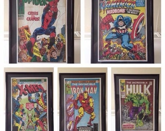 Vintage superhero comic book cover art, framed