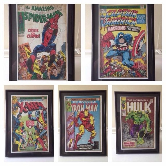 Vintage Comic Book Cover Art : Vintage superhero comic book cover art framed by