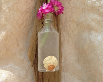 Driftwood and Sea Glass wall vase