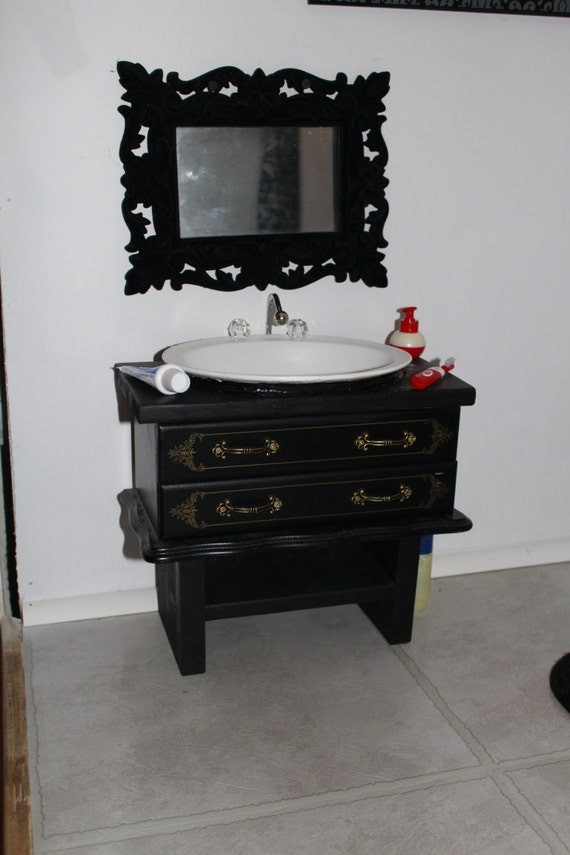 18 Inch Vanity With Sink : Bathroom Sink Vanity - Handmade 18 inch doll Bathroom Sink Vanity