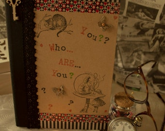 Alice in Wonderland Handmade A5 Notebook Who Are You??
