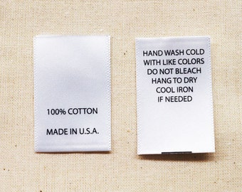 """Printed Satin Care Clothing Labels - White with Black Text - 100 Pcs - 1"""" (W) x 1.5"""" (H) Folded Size"""