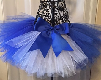 Blue and white tutu with bow
