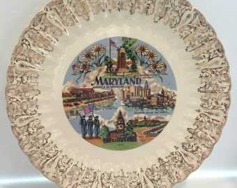 REDUCED!  Souvenir Plate: Maryland, Ruffle Edge Vintage
