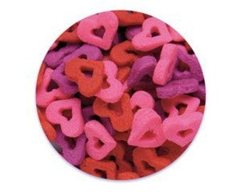 Double Heart Edible Sprinkles - Pink, Red, Purple - 8 oz