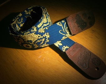 Sea Dog Blues Leather Ended Paisley Guitar Strap - Sexy Straps