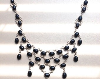 """Sterling Silver and Onyx Necklace-19"""""""