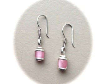 Sterling Silver Pink Drop Earrings