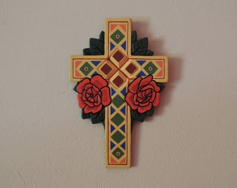 Colofull Cross with Red Rosses, Old School, Handmade