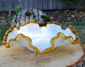 Milk Glass with Gold Crest Plate