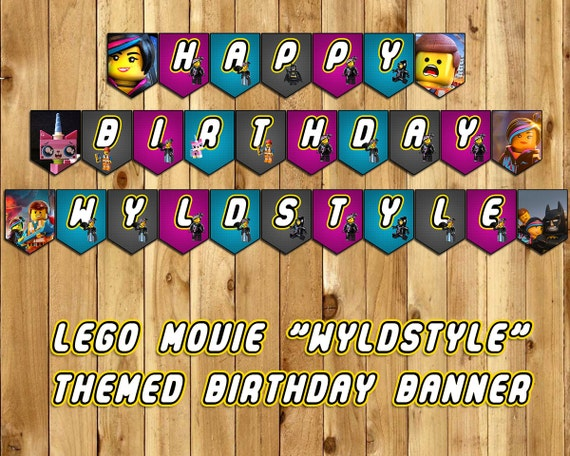 The Lego Movie Wyldstyle Birthday Banner -Download Customize Print Lego Movie Birthday Banner Wyldstyle Banner Wyldstyle birthday decoration