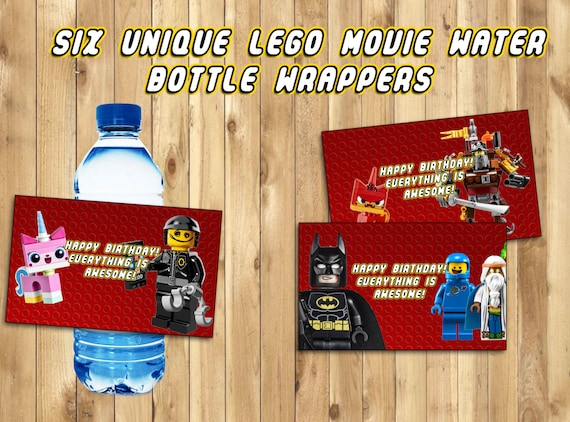 The Lego Movie Water Bottle labels - 6 Different Wraps - Printable Lego Movie Birthday Decoration - Bottle Wrapper - Instant Download