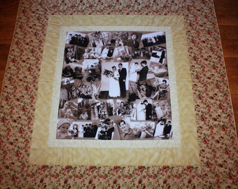 Customized Photo Quilt, anniversary, birthday quilt, wedding quilt celebration guestbook quilt, holiday picture quilt, graduation quilt
