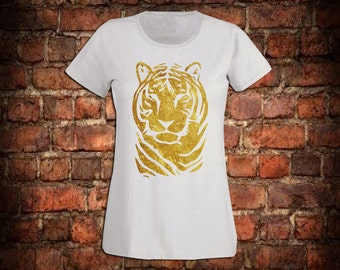Tiger in gold flock on a white fitted t-shirt