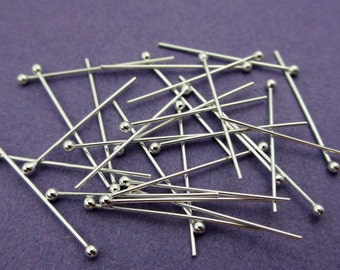 New 19mm 24 gauge 925 Sterling Silver Ball Ended Headpins 24pcs.