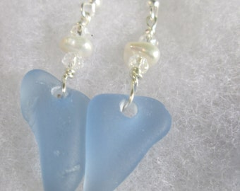 Genuine sea glass earrings with fresh water pearls sterling/gold filled ear wire-  Petite Earring