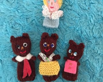 Handmade finger puppets Goldilocks and the 3 Bears