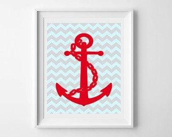 Baby wall art printable, nursery decor, Nautical Anchor, gender neutral, baby gift, navy, nautical collection, kids prints, kids decor
