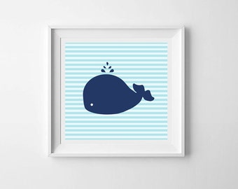 Baby wall art printable, nursery decor, Baby Whale, gender neutral, baby gift, navy, nautical collection, kids prints, kids decor