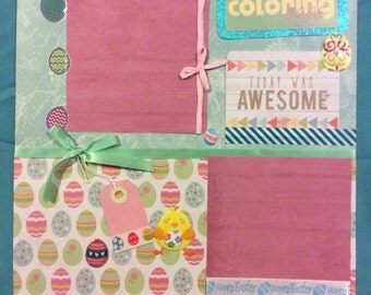 """Premade """"Coloring Easter Eggs"""" scrapbook page"""